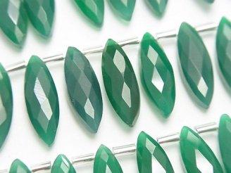 天然石卸 1連1,980円!宝石質グリーンオニキスAAA マーキスカット20×6mm 1連(約10cm)