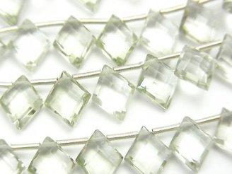 天然石卸 宝石質グリーンアメジストAAA ダイヤカット10×8mm 半連/1連(18粒)