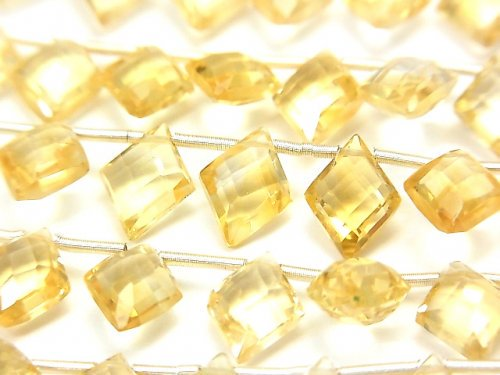 宝石質シトリンAAA ダイヤカット10×8mm 半連/1連(18粒)