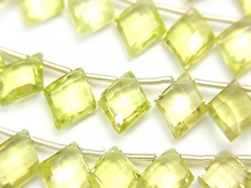 宝石質レモンクォーツAAA ダイヤカット10×8mm 半連/1連(22粒)