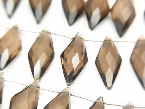 【動画】宝石質スモーキークォーツAAA ダイヤカット18×8mm 1連(約13cm)