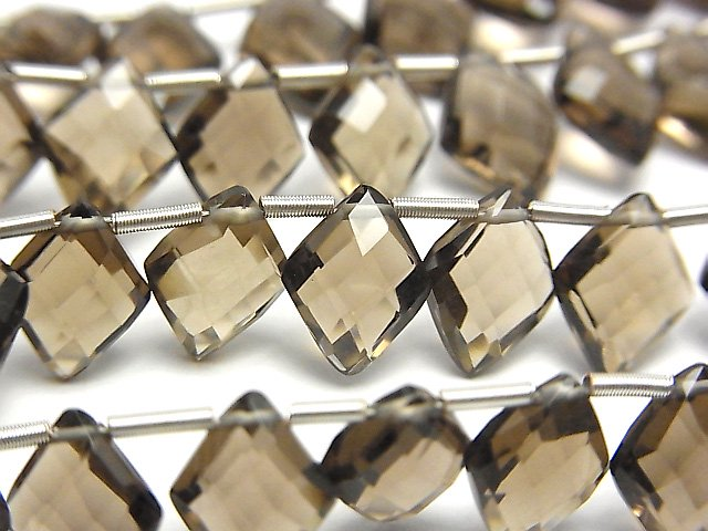 宝石質スモーキークォーツAAA ダイヤカット10×8mm 半連/1連(22粒)