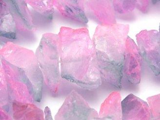 天然石卸 1連1,180円!クリスタル 大粒ラフロックタンブル メタリックコーティング ライトブルー&ピンク系 1連(約36cm)
