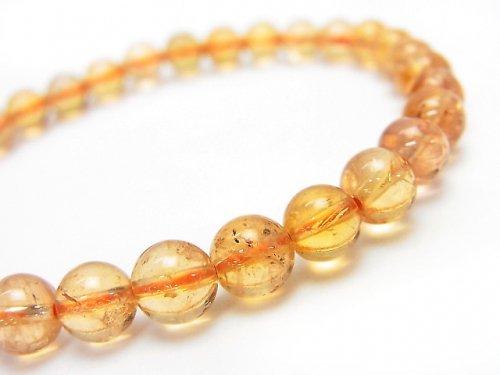 ◆希少◆【1点もの】宝石質インペリアルトパーズAAA+ ラウンド6mm 1連(ブレス) NO.192