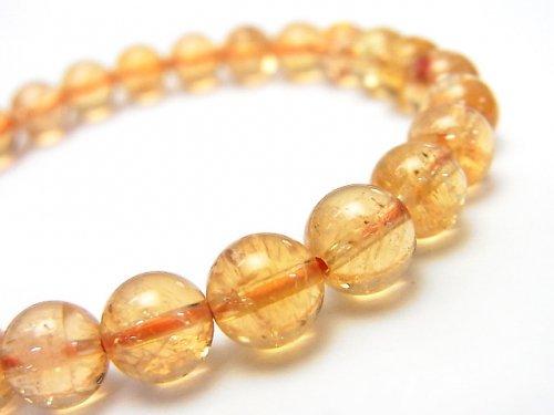 ◆希少◆【1点もの】宝石質インペリアルトパーズAAA+ ラウンド7mm 1連(ブレス) NO.194