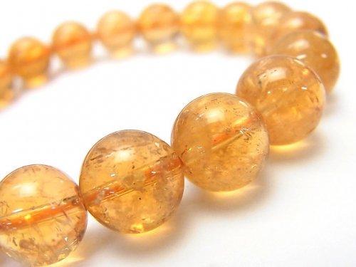 ◆希少◆【1点もの】宝石質インペリアルトパーズAAA+ ラウンド10mm 1連(ブレス) NO.205
