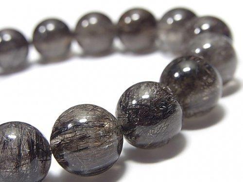 【1点もの】ブラックブラウンルチルクォーツAAA- ラウンド12.5mm NO.1 1連(ブレス)