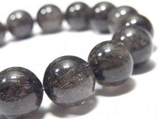 天然石卸 1点もの!ブラックブラウンルチルクォーツAAA- ラウンド13.7mm NO.2 1連(ブレス)