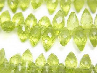 宝石質ペリドットAA++ マーキスライス ブリオレットカット 半連/1連(約18cm)