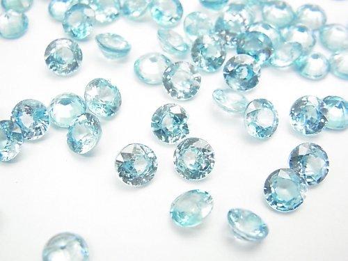 宝石質ブルージルコンAAA 穴なしラウンドファセットカット6×6mm 1粒