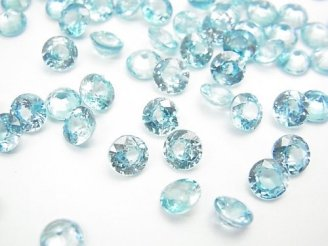 天然石卸 宝石質ブルージルコンAAA 穴なしラウンドファセットカット6×6mm 1粒1,280円!