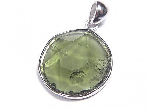 【1点もの】宝石質モルダバイトAAA 六芒星型カットペンダントトップ Silver925製 NO.182