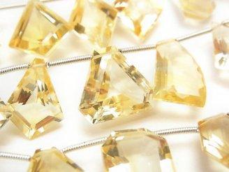 天然石卸 1連2,980円!宝石質シトリンAAA ファンシーシェイプファセットカット 1連(14粒)