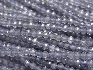 素晴らしい輝き!宝石質アイオライトAAA 極小ラウンドカット2.5mm 1連(約32cm)