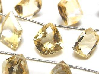 天然石卸 1連2,980円!宝石質シトリンAAA ファンシーシェイプファセットカット 1連(10粒)