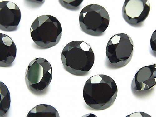 宝石質ブラックスピネルAAA 穴なしラウンドファセットカット10×10mm 2粒