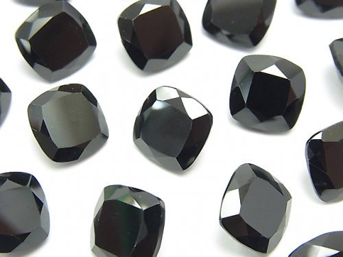 宝石質ブラックスピネルAAA 穴なしスクエアファセットカット10×10mm 2粒
