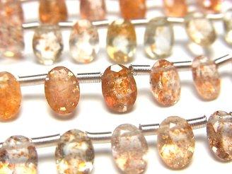 宝石質サンストーン×グリーンフェルスパーAAA オーバルファセットカット7×5mm 半連/1連(約18cm)