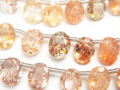 宝石質サンストーン×グリーンフェルスパーAAA オーバルファセットカット9×7mm 半連/1連(約18cm)
