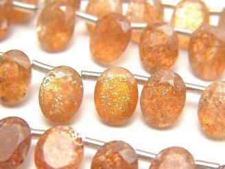 宝石質サンストーンAAA オーバルファセットカット9×7mm 半連/1連(約20cm)