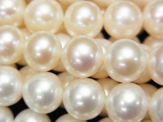 1連6,980円!淡水真珠AAA' セミラウンド10mm ホワイト 1連(約38cm)