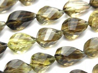 天然石卸 宝石質レモン×スモーキークォーツAAA ドロップ4面ツイスト ブリオレットカット 半連/1連(約40cm)
