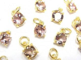 天然石卸 宝石質ピンクトルマリンAAA 枠留めラウンドファセットカット5.5×5.5mm 2粒1,980円!
