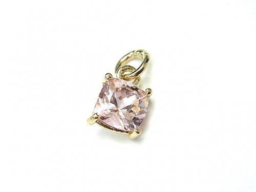 【1点もの】宝石質ピンクトルマリンAAA 枠留めスクエアファセットカット6×6mm 1粒 NO.1
