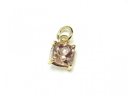 【1点もの】宝石質ピンクトルマリンAAA 枠留めスクエアファセットカット6×6mm 1粒 NO.2