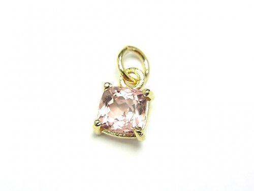 【1点もの】宝石質ピンクトルマリンAAA 枠留めスクエアファセットカット6×6mm 1粒 NO.3