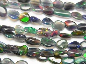 天然石卸 1連2,980円!宝石質エチオピア産ブラックオパールAAA- タンブル 1連(約38cm)
