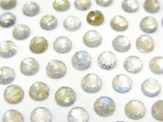 天然石卸 宝石質ラブラドライトAAA- ラウンド カボションローズカット4×4mm 10粒480円!