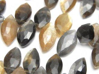 天然石卸 宝石質マルチカラームーンストーンAAA- マーキス ブリオレットカット 半連/1連(約16cm)