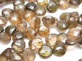 宝石質アンダリュサイトAA++ マロン ブリオレットカット 半連/1連(約18cm)