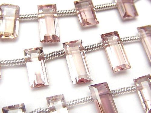 【動画】宝石質ピンクトルマリンAAA レクタングル ファセットカット 1連(18粒)の画像