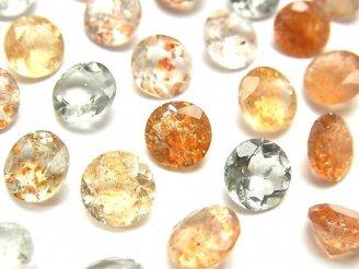 天然石卸 宝石質マルチカラーサンストーンAAA 穴なしラウンドファセットカット8×8mm 5粒1,280円!