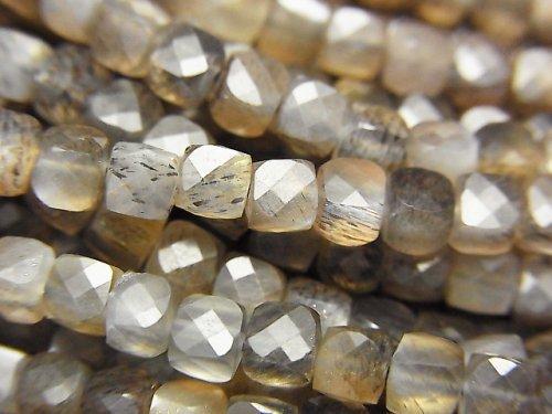 【素晴らしい輝き】シルバー&ゴールデンシャイン グレームーンストーンAAA キューブカット3.5×3.5×3.5mm 半連/1連(約36cm)