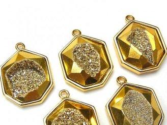ドゥルージーアゲート ヘプタゴン型チャーム20×17mm ゴールドカラー 2個580円!