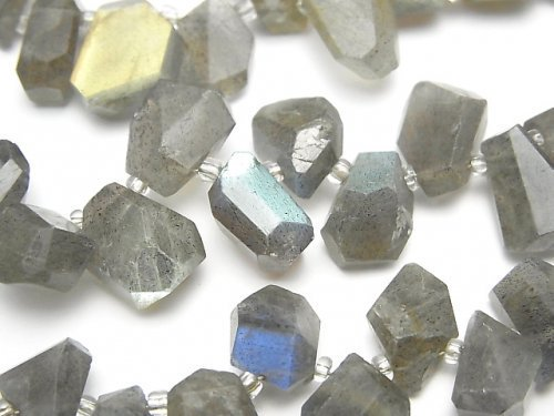 ラブラドライトAAA- タンブルカット クレオ穴 1連(約16cm)