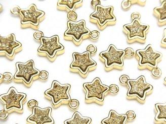天然石卸 ドゥルージーアゲート スター(星)モチーフ チャーム8×8mm ゴールドカラー 2個480円!