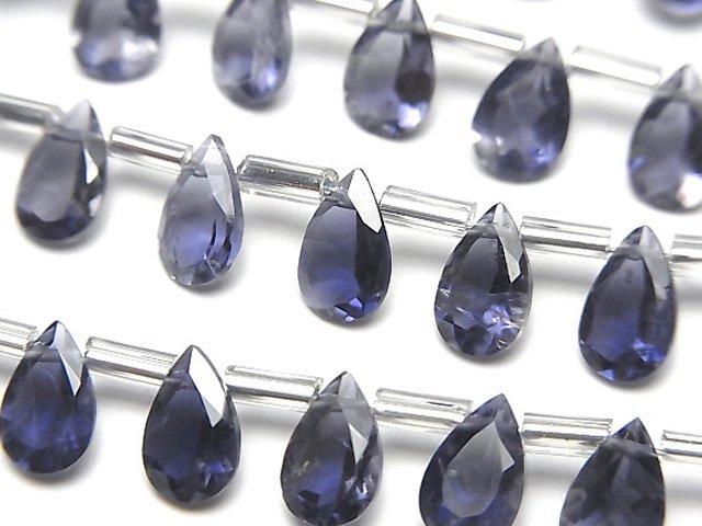 【動画】宝石質アイオライトAAA- ペアシェイプ ファセットカット8×5mm 1連(約16cm)の画像