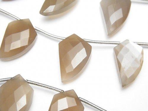 宝石質ブラウンムーンストーンAAA- 変形マーキスカット 1連(約22cm)