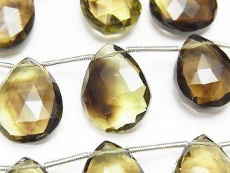 天然石卸 宝石質レモン×スモーキークォーツAAA 大粒ペアシェイプ ブリオレットカット 半連/1連(約23cm)