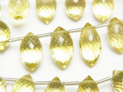 宝石質レモンクォーツAAA マーキスライス ブリオレットカット 半連/1連(約17cm)