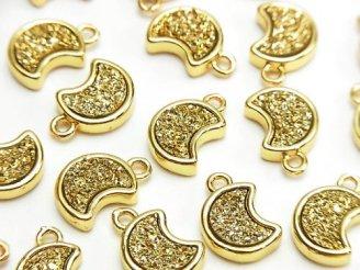 ドゥルージーアゲート 三日月モチーフ チャーム10.5×9mm ゴールドカラー 2個280円!