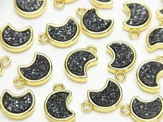 天然石卸 ドゥルージーアゲート 三日月モチーフ チャーム10.5×9mm ブラックカラー 2個280円!