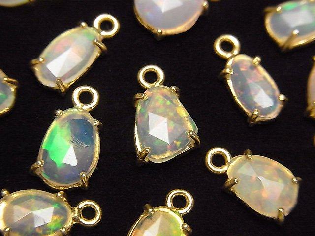 【動画】宝石質エチオピア産オパールAAA 枠留めフリーフォーム ローズカット 18KGP  4個の画像
