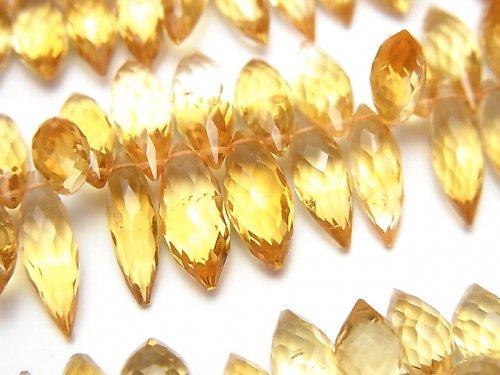 宝石質シトリンAAA マーキスライス ブリオレットカット 1/4連〜1連(約20cm)