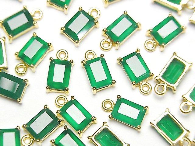 【動画】宝石質グリーンオニキスAAA 枠留めレクタングルファセットカット7×5mm 18KGP  2個