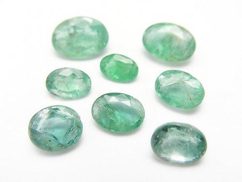 【1点もの】ザンビア産宝石質エメラルドAAA- ファセットカット 8粒セット NO.90